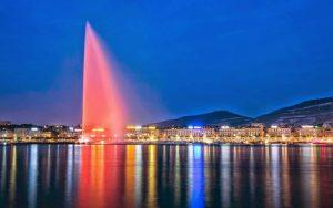نافورة جنيف السويسرية من اهم معالم جنيف و اماكن السياحة في جنيف سويسرا