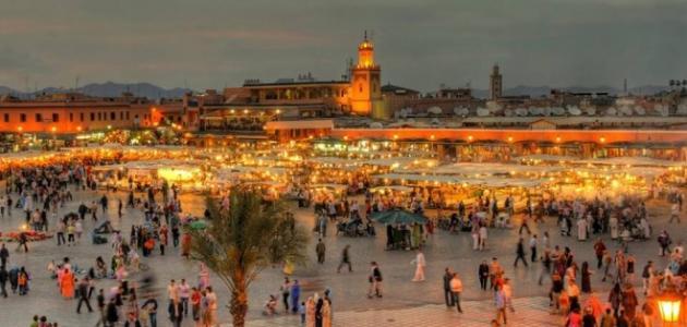 ساحة جامع الفنا من اجمل اماكن السياحة في مراكش المغرب