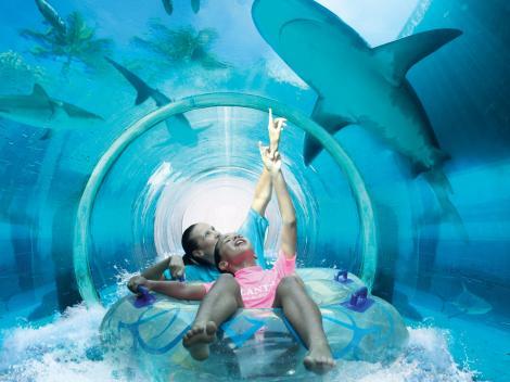 مدينة أكوافنتشر المائية في فندق اتلاتنس ، تعتبر من افضل اماكن الترفيه في دبي