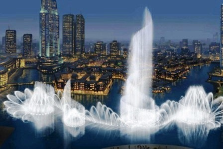 نافورة دبي من اهم معالم السياحة في دبي