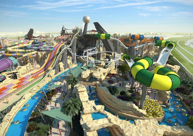ياس ووتروورلد للالعاب المائية احدى اهم اماكن الترفيه في مدينة ابوظبي الامارات