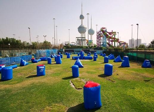 حقل حرب الألوان في أكوا بارك في العاصمة الكويتية
