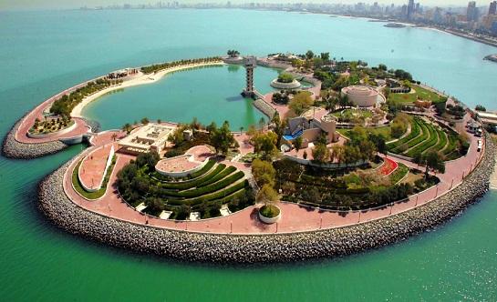 مشهد جوي للجزيرة الخضراء في الكويت