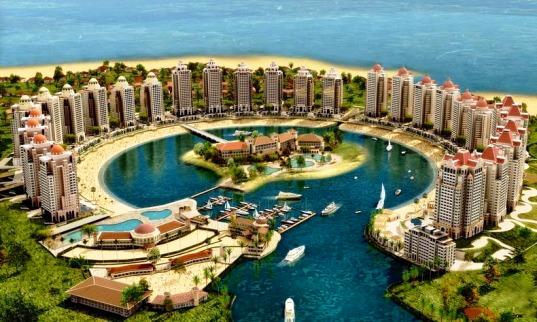 مشهد جوي لجزيرة لؤلؤة قطر في الدوحة