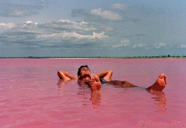 البحيرة الوردية في مدينة السنغال