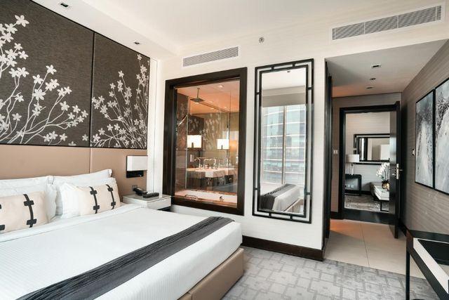 شقق داون تاون دبي العنوان العاملة بالخدمة الذاتية افضل فنادق الخليج التجاري دبي