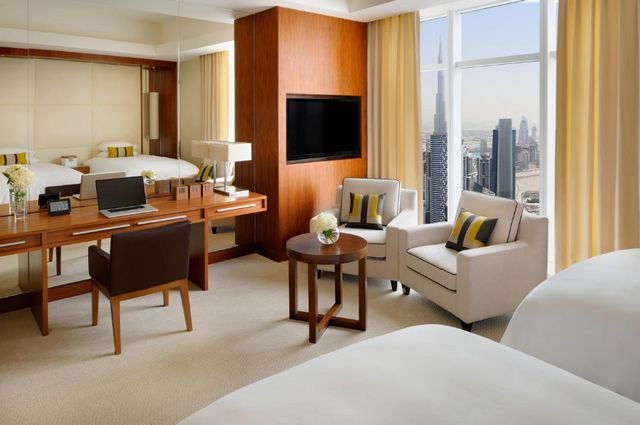 غُرف فندق ماريوت ماركيز دبي فسيحة ومُناسبة للعوائل